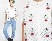 25% OFF Sale 90s Strawberries Cardigan Novelty Knit Fruit Sweater Granny Cream Cardigan Floral Daisy Pom Poms Short Sleeve Scalloped Edge Sw
