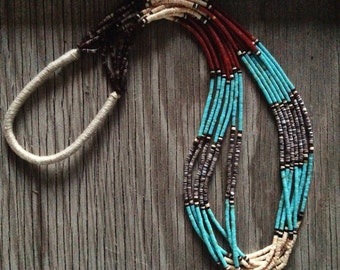 Vintage 7-strand Santo Domingo Native American multi color turquoise coral shell heishi necklace with squaw wrap, turquoise heishi necklace