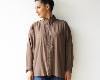 Vintage Brown Blouse / 90s Loose Button Up / Size L XL
