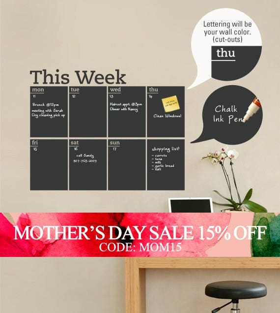 Mothers Day Sale - Weekly Planner Chalkboard Calendar - Modern Vinyl Wall Decal