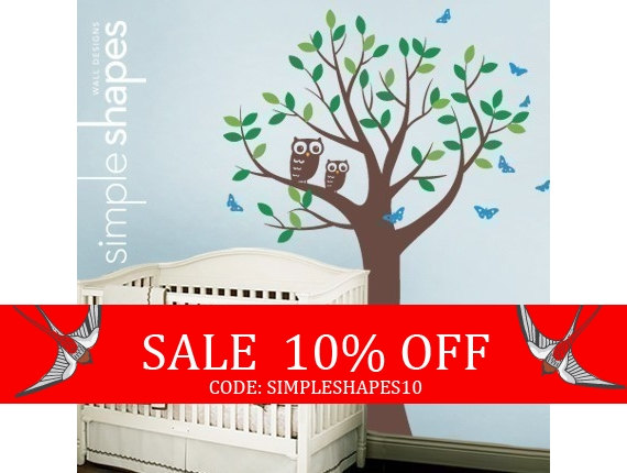 Sale Tree With Two Owls And Butterflies Decal Set By