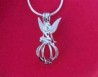 925 sterling silver - Whimsical Fairy pearl cage pendant - Pearl Setting - pearl Necklace - Locket - Charm -
