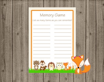 Woodland Memory Game, Woodland Baby Shower, Forest Animals Baby Shower, Forest Animals Memory Game, Baby Shower Games, Instant Download
