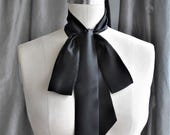 NEW Silk Charmeuse Unique neck tie/can be worn many different ways/Black bow tie/Bow scarf/Bow choker/Bow back/Neck wrap/Bow waist/Bow belt