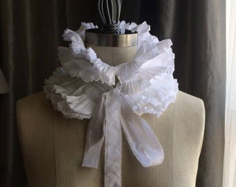 High Neck White hand pleated collar/Totally hand made/Detachable Ruffle Collar/Ruffle collar/Pleats/High neck collar/