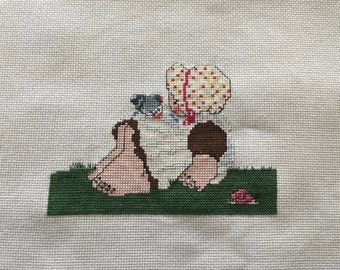 Cross Stitched Baby GIRL Completed Unframed