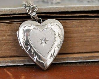 vintage sterling silver folded heart locket, diamond accent locket, sterling silver heart, vintage locket necklace, sweetheart necklace