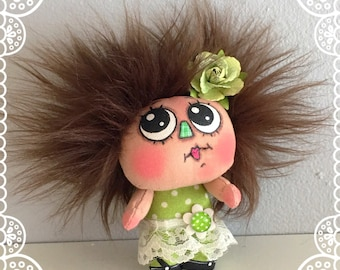 """OOAK Artist Miniature Cloth Pocket Doll baby girl """"ROSEMARY"""" only 3 1/2"""" high!"""