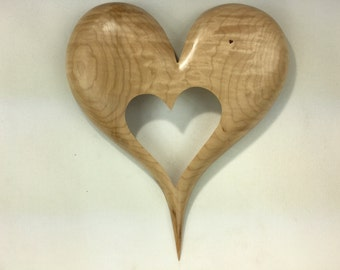 Living room decor wood wall heart shaped carved wooden heart shaped plaque best gift ever present by Gary Burns