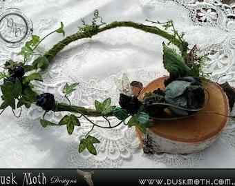 Teal & black moss faerie crown - flower, pixie, hippie, fairy, boho, fantasy, cosplay, forest