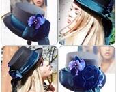 Stevie Nicks style Top Hats, Spell n gypsy black hat, Steampunk top hat, embellished velvet rose black tophat victorian True rebel clothing