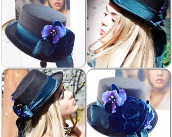 Stevie Nicks style Top Hats, Spell n gypsy black hat, Steampunk top hat, embellished velvet rose black tophat victorian True rebel clothing