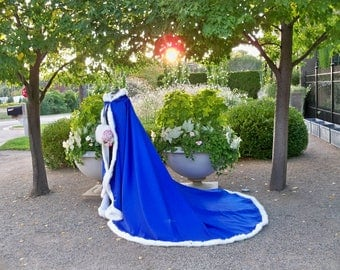 Beauty And The Beast Bridal Cape 52/96-inch Royal-Blue / Ivory Satin Wedding Cloak Hooded with Fur Trim Handmade in USA