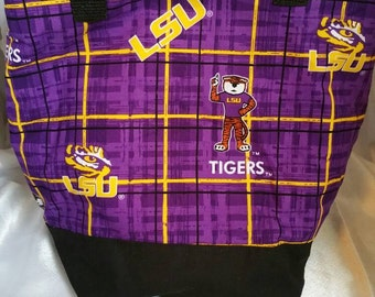 LSU Purple Plaid Insulated Zip-up Lunch bag