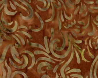 Rusty Brown Flourish Batik,
