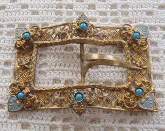 Vintage Belt Buckle Filigree Metal Turquoise Stones Enamel Decorations