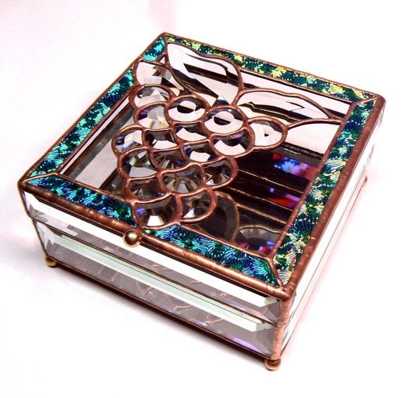 Beveled Glass Grapes Jewelry Box