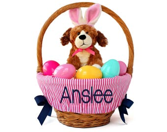 Boy easter basket etsy personalized easter basket liner pink pin stripes basket not included personalized with name negle Image collections