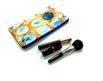 Cosmetic zipper pouch, makeup case, orange blue modern designer cotton fabric, gift for her under 20, bridesmaids gift