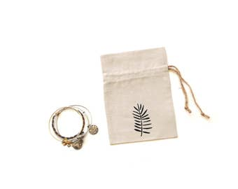 Linen gift bag, drawstring pouch, tea party gift bag, jewelry travel pouch, fern motif, hen party bag, Happy Birthday, jewelry travel bag