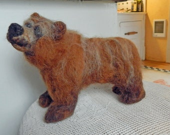 OOAK Needle Felted Bear Sculpture by Maure Bausch