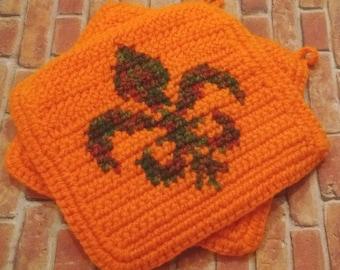 Fleur De Lis Potholders - Fleur De Lys Potholders - Orange Potholders - Autumn, Crochet, Crocheted Potholder, Pot Holder, Kitchen Home Decor