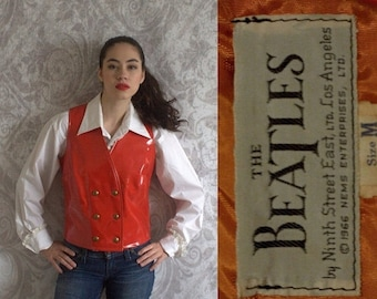 The Beatles Clothing 1960s Red Vest Leather Vest 1966 Nems Enterprises Double Breasted Size Small
