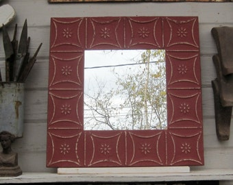 Tin Ceiling Tile Mirror. Vintage Red Mirror. Architectural salvage. 2'x2' Wall mirror. Pressed tin mirror. Red Wall decor. Old mirror
