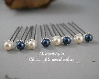 Bridal hair pins, Wedding silver hair pins, Choice of 2 Swarovski pearl colors, 8mm pearl pin, Set of 8 u shaped pins Bridal party hair do