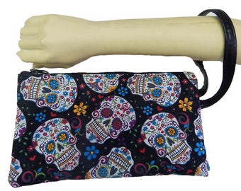 """USA Handmade Clutch Purse, Pouch Wristlet Makeup Bag With """"FOLKLORIC Sugar Skulls Pattern Cosmetic bag, New, rare"""