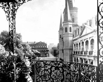 Old New Orleans French Quarter Wrought Iron Balcony Church Steeple View Early 1900s  NOLA Louisiana Black and White Photography Photo Print