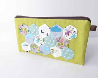 Hexagon Applique zippered pencil case