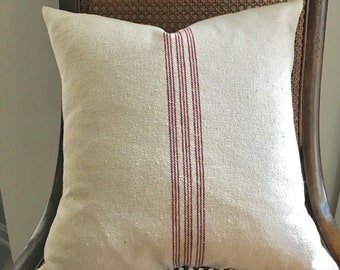 Grain Sack Pillow Cover 9 Red Stripes
