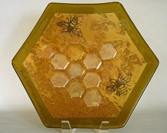 Honeycomb amber honey bee bowl