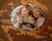 Sweet Spring Easter Girls Large Oval Porcelain Ceramic Button Crazy Quilt Embellishment