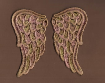 Hand Dyed Venise Lace Sweet Angel Wings Appliques  Aged Shabby Bliss