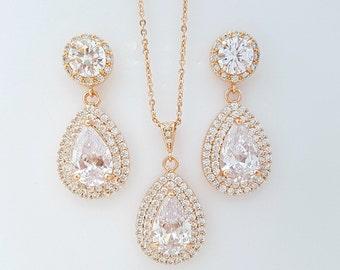 Crystal Rose Gold Bridal Set Wedding Jewelry Earring Pendant Wedding Set Rose Gold Bridal Earrings Wedding Pendant, Ena Halo Set
