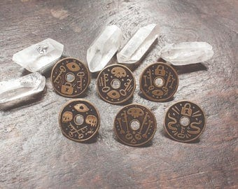 Lock and Key - etched brass shield pins