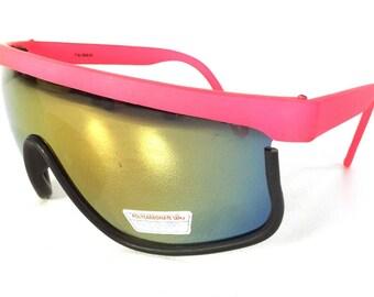 vintage 80s deadstock shield razor blade style sunglasses oversized wrap around revo plastic lightweight black rainbow matte hot pink b106