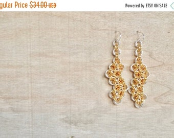 25% OFF - Chainmaille  Earrings - Long Gold and Silver Dangle Earring - Gold rings - Silver Rings - Gold Earrings - By BALOOS