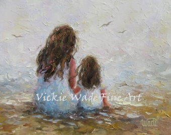 Mother Daughter ORIGINAL Painting 9X12 impressionism canvas, mother's day gift, mom, two sisters, palette knife, beach art, Vickie Wade Art.