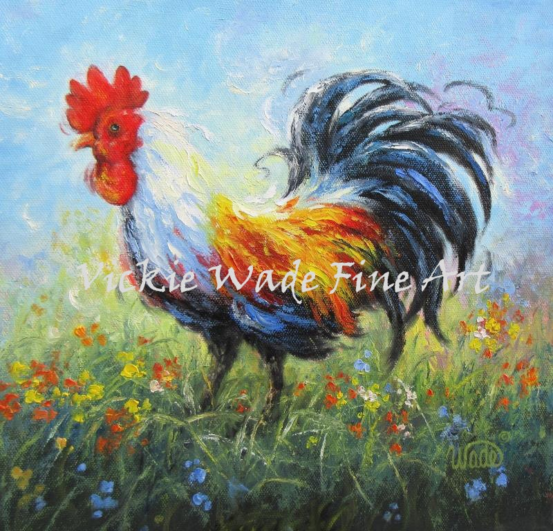 kitchen paintingsRooster ORIGINAL Painting 12X12 rooster painting rooster