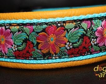 "Dog Collar ""Tropic Garden"" by dogs-art, leather dog collar, yellow dog collar, floral dog collar, custom dog collar, adjustable collar, dog"