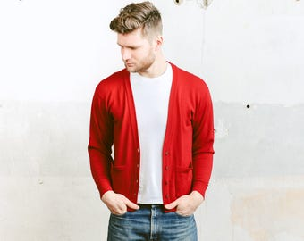 Mens CARDIGAN Sweater . Vintage 90s Knit Jacket Red Plain Knit Sweater Cardigan . size Small S