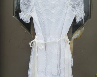 retro 80s girls white lace and chiffon First Holy  Communion / flower girl/  party dress new vintage never worn  USA Made..sz  14