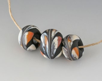 Southwest BHB Set - (3) Handmade Lampwork Beads - Black, Terracotta, Ivory - Etched, Matte