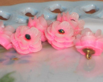 """Celluloid buttons, Acrylic Pink Japan Flower buttons,Rose Button Rhinestone 1/2"""" Pretty petite Shabby Chic Cottage 3D #128M"""