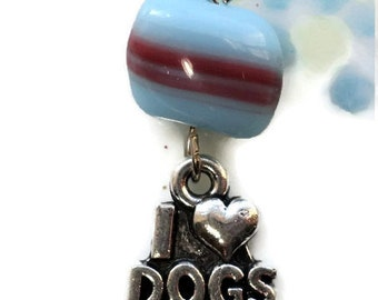 I LOVE DOGS, Charm Heart Pendant,Dog pendant, dog charm, Czech Blue glass Valentines Day Findings Jewelry Love Silver Key Chain #1029R