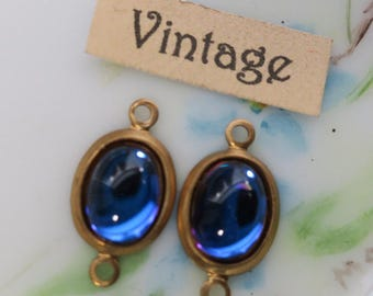 Helio AB Vintage Rhinestone Connectors Drops Findings Glass antique brass on  NOS Blue #1246G