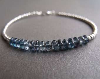 Blue Teal Apatite Gemstone and Sterling Silver Bead Stacking Bracelet